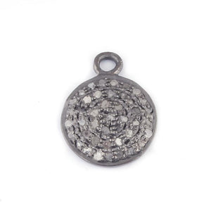 1 Pc Pave Diamond Round Disc Pendant - 925 Sterling Silver 17mmx13mm PDC316 - Tucson Beads