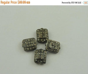 1 Pc Pave Diamond Antique Finish Designer Flat Beads 925 Sterling Silver - 10mmx8mm PDC315 - Tucson Beads