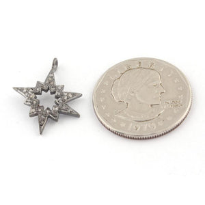 1 PC Pave Diamond Starburst Charm Pendant 925 Sterling Silver 24mm PDC038 - Tucson Beads