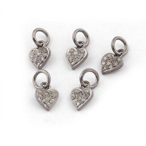 5 Pcs Pave Diamond Heart Shape Charm Pendant - 925 Sterling Silver - 10mmx7mm PDC013