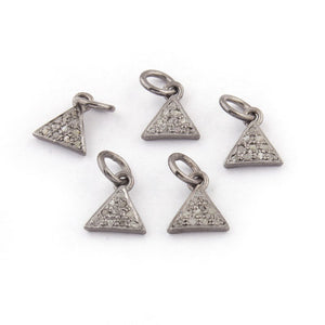 5 Pcs Pave Diamond Triangle Charm 925 Sterling Silver Pendant - 10mmx9mm PDC280 - Tucson Beads