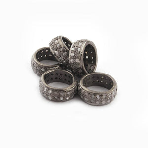 1 Pc Pave Diamond Double Line Designer Pave Jewelry Spacer Beads 925 Sterling Silver- Rondelles Beads- 8mm PDC096 - Tucson Beads