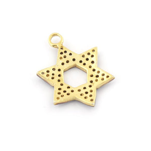 1 Pc Pave Diamond Star Of David Charm Pendant 925 Sterling Vermeil 25MM PDC020 - Tucson Beads