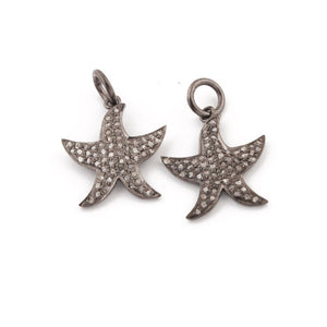 1 Pc Pave Diamond Star Fish Charm Over 925 Sterling Silver Pendant - Star Pendant 17mmx11mm PDC114