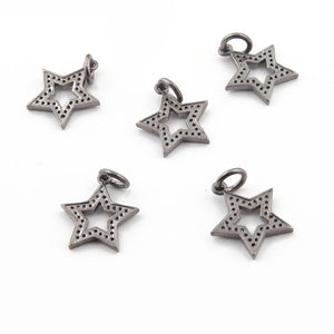 Bulk Wholesale 5 Pcs Pave Diamond Star Charm Over 925 Sterling Silver Pendant - Star Pendant 16mmx14mm PDC625 - Tucson Beads