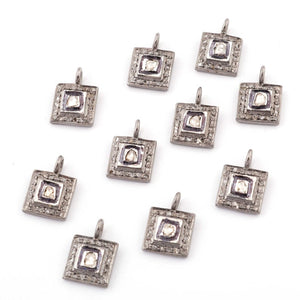1 Pc Pave Diamond with Rose Cut Diamond 925 Sterling Silver/ Vermeil Square Shape Pendant 12mmx8mm PDC1298 - Tucson Beads