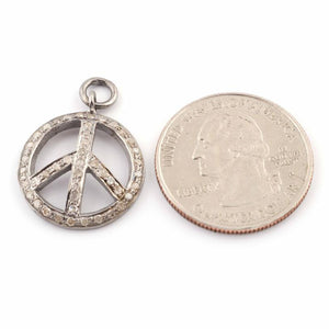 1 Pc Pave Diamond Peace Round Charm 925 Sterling Silver Pendant - 23mmx19mm PDC312 - Tucson Beads