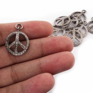 1 Pc Pave Diamond Peace Round Charm 925 Sterling Silver Pendant - 23mmx19mm PDC312