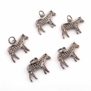 1 Pc Pave Diamond Horse Charm Pendant - 925 Sterling Silver -Diamond Fancy Charm - 14mmX20mm PDC429 - Tucson Beads