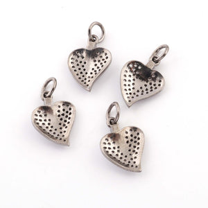 1 Pc Pave Diamond Heart Shape Leaf Charm 925 Sterling Silver Pendant -Leaf Charm Pendant 17mmx12mm PDC444 - Tucson Beads