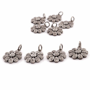 1 Pc Pave Diamond Flower Charm 925 Sterling Silver Single Bail Pendant - Diamond Round Flower Pendant 19mmx16mm PDC743
