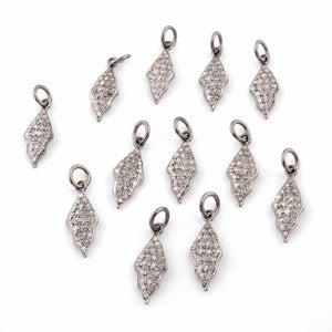1 Pc Pave Diamond Beautiful Leaf Charm 925 Sterling Silver Pendant - 20mmx8mm PDC447