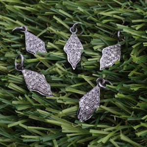 1 Pc Pave Diamond Beautiful Leaf Charm 925 Sterling Silver Pendant - 20mmx8mm PDC447 - Tucson Beads