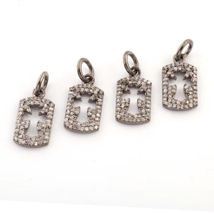 1 PC Pave Diamond Rectangle With Cross Charm 925 Sterling Silver Single Bail Pendant - 15mmx8mm PDC927 - Tucson Beads