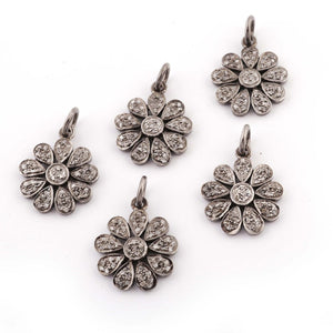 1 Pc Pave Diamond Flower Charm 925 Sterling Silver Single Bail Pendant - Diamond Round Flower Pendant 19mmx16mm PDC743 - Tucson Beads
