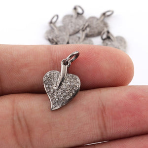 1 Pc Pave Diamond Heart Shape Leaf Charm 925 Sterling Silver Pendant -Leaf Charm Pendant 17mmx12mm PDC444