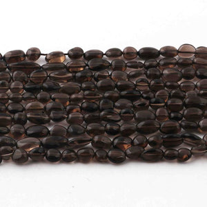 3 Long Strands Smoky Quartz Smooth Oval Shape Briolettes -Smoky Oval Beads  6mmx6mm-10mmx5mm- 13 inches RB436 - Tucson Beads