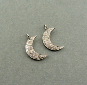 1 Pc Natural Pave Diamond Moon Charm Pendant 925 Sterling Silver 19mmX5mm PDC521 - Tucson Beads