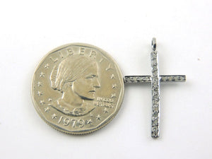 1 Pc Pave Diamond Cross Charm 925 Sterling Silver Pendant - 29mmx17mm PDC332 - Tucson Beads