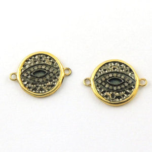 1 Pc Pave Diamond Round Evil Eye Charm 925 Sterling Vermeil Connector 21mmx16mm PDC219 - Tucson Beads