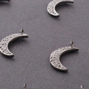 1 Pc Pave Diamond Moon Charm Pendant Over 925 Sterling Silver 18mmx4mm PDC1256 - Tucson Beads