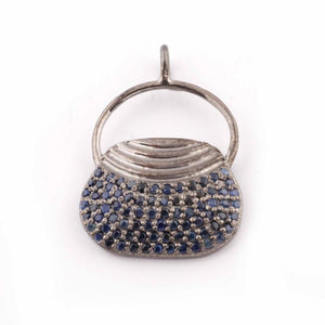 1 PC Pave Diamond, Blue Sapphire, Black Spinel And Ruby Handmade Designer Purse Pendant 925 Sterling Silver- 23mmx16mm PDC409 (You Choose) - Tucson Beads