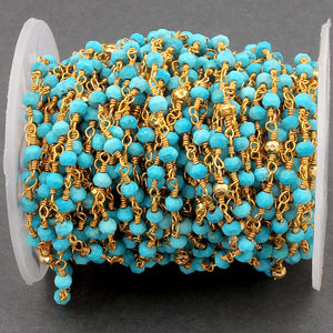 5 Feet Turquoise & Gold Pyrite 3mm Rosary Style Beaded Chain - Beads 24k Gold Plated Wire Wrapped Chain BDG025 - Tucson Beads