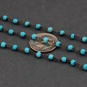 5 Feet Turquoise 3mm-3.5mm Rosary Beaded Chain - Turquoise Beads Black Wire Wrapped Chain BDB053 - Tucson Beads