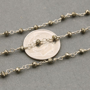 5 Feet Natural pyrite Rosary Style Beaded Chain --  Beads wire wrapped 925 Silver Plated chain per foot SC314 - Tucson Beads