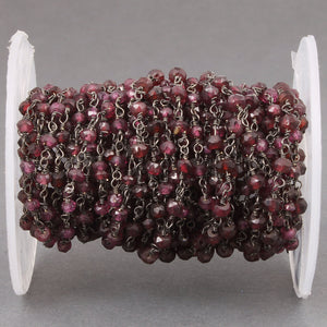 5 Feet Garnet 3-3.5mm Rosary Style Chain - Garnet Beads in Black Wire Wrapped Beaded Chain Bdb015 - Tucson Beads
