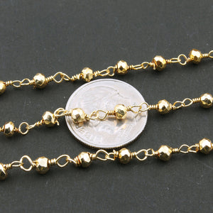 1 FOOT Gold Pyrite Rosary Style Beaded Chain - Gold Pyrite Beads 3-4MM wire wrapped 925 Sterling Vermeil Chain BD069 - Tucson Beads