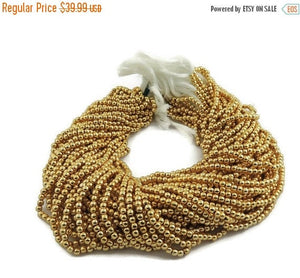5 Strands AAA Quality 24k Gold Plated Brass Ball 2mm 13.5 inch strand GPC435 - Tucson Beads