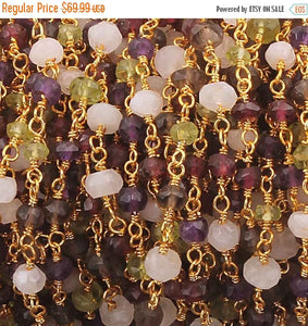5 FEET Amethyst,Peridot,Rainbow Moonstone,Smoky Quartz Rosary Style Beaded Chain -  Amethyst Beads wire wrapped Gold & Black Plated BDG023 - Tucson Beads