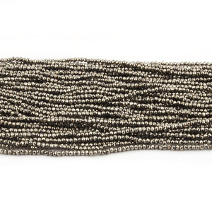 5 Long Strands Natural Pyrite Micro Faceted Tiny Rondelles - Natural Pyrite Small Beads 2mm 13 Inches RB173 - Tucson Beads