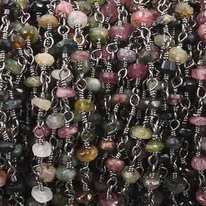 5 feet Multi Tourmaline Black Wire Wrapped Rosary Style Beaded Chain 3mm-4mm Bdb044 - Tucson Beads