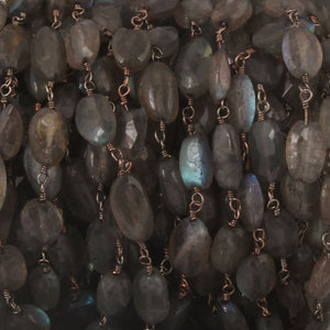 5 FEETS Labradorite Oval Beaded Chain - Labradorite Oval Beads Black Wire Wrapped Rosary Style Chain 7mm-10mm BD571 - Tucson Beads