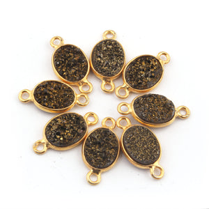 8 pcs LISTING IS For Ten (8) Pieces Mystic Sparkling Brown Charm Connector 925 Sterling Vermeil Oval Double Bail Connector. SS161 - Tucson Beads