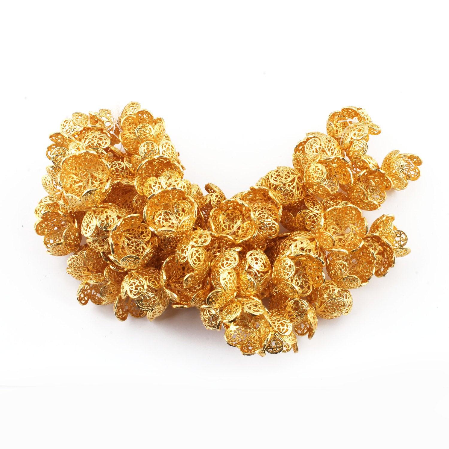 1 Strand Flower Half Cap 24K Gold Plated on Copper Half Cap Beads 4mmX9mm 7.5 Inches Gpc149