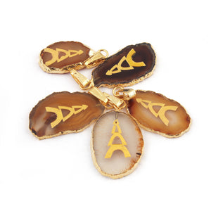 5 Pcs Champagne Agate With Ingrid Snowman Druzy Drusy Druzzy Slice Electroplated 24K Gold Plated Single Bail Pendant34mm-43mm Drz073 - Tucson Beads