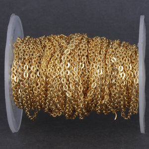 10 FEET Gold Plated Brass Chain - Cable Chain - Brass Gold Curb Chain - Gold Small Necklace Chain - Soldered Chain  3mm  gpc825 - Tucson Beads