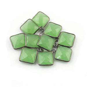 10 Pcs Beautiful Oxidized Silver Green Chalcedony Faceted Cushion Single Bail pendant.SS071 - Tucson Beads