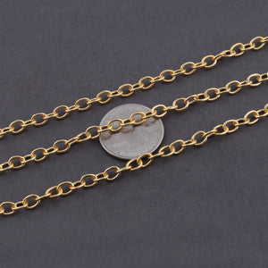 5 FEET Gold Plated Copper Chain - Cable Oval Link Chain - Copper Gold Curb Chain - Soldered Chain 6mmx5mm GPC697 - Tucson Beads