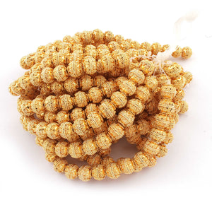 1 Strand 24k Gold Plated Designer Copper Casting Round Beads - Jewelry Making - 10mm 8 Inches GPC081 - Tucson Beads