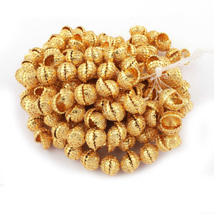 1 Strand 24k Gold Plated Designer Copper Casting Half Cap Beads - Jewelry Making- 13mmx7mm 7.5 Inches GPC038 - Tucson Beads