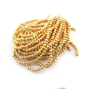 2 Strands 24k Gold Plated Copper Casting Melon Beads - 5mm - Jewelry Making - 8.5 Inches GPC151 - Tucson Beads