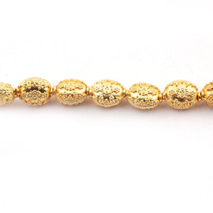 1 Strand 24k Gold Plated Designer Copper Casting Oval Beads - Jewelry Making- 14mmx11mm 7.5 Inches GPC088 - Tucson Beads