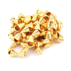 1 Strand 24k Gold Plated Designer Copper Casting Cone Beads - Jewelry - 14mmx14mm 8 Inches GPC322 - Tucson Beads