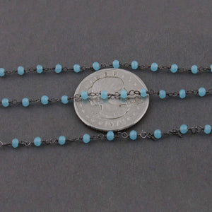 5 Feet Blue Aqua Chalcedony Rosary Style Beaded Chain 3mm, Black Wire Wrapped Chain- Chalcedony Rosary Chain Bdb028 - Tucson Beads