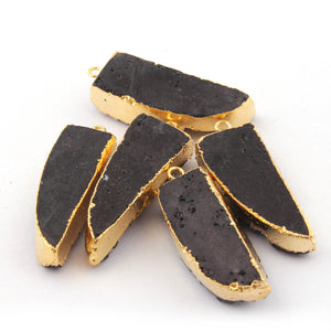 4 Pcs Black Agate 24K Gold Plated Horn Shape Sparkle Druzy Single Bail Pendant 35mmx13mm-37mmx13mm DRZ125 - Tucson Beads
