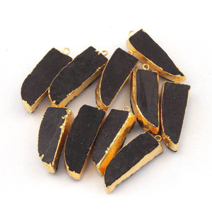 10 Pcs Black Agate 24K Gold Plated Horn Shape Sparkle Druzy Single Bail Pendant 34mmx11mm-37mmx12mm DRZ058 - Tucson Beads